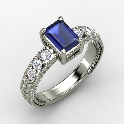 Black Emerald Cut Diamond Ring