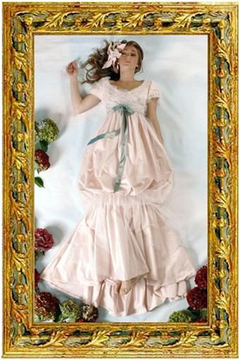 Fantasy light pink wedding dress with blue satin tie under bust