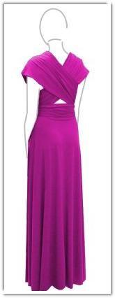 Dessy's Twist Wrap Dress in Fuscia (American Beauty)- Full-Length Back