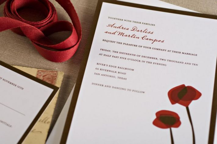 Gorgeous Red and Chocolate Wedding Invitations