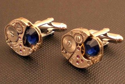 Steampunk cufflinks for the begoggled groom