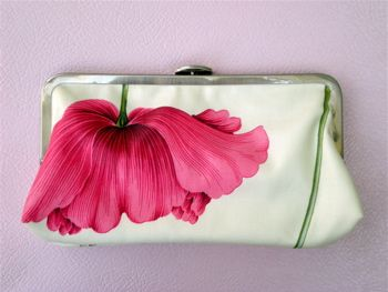 Pink poppy bridesmaid clutch