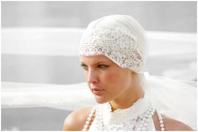 The Cloche in white lace is perfect with a vintage white wedding dress