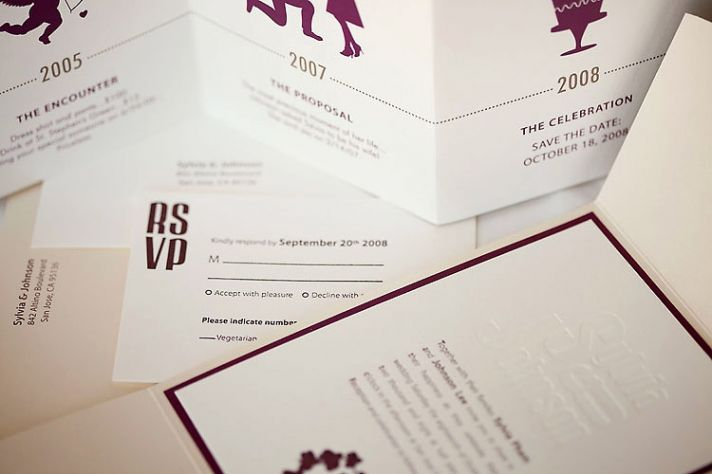 Chocolate brown and white luxurious letterpress wedding invitations and RSVP cards