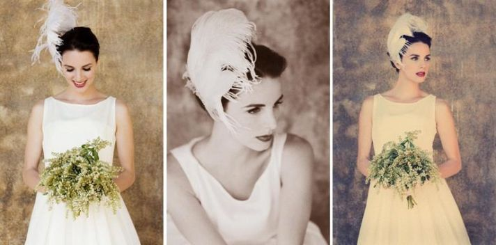 Classic white wedding dress, green and ivory bouquet, white feather in hair