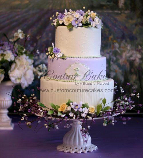 Pastel petals lavender wedding cake