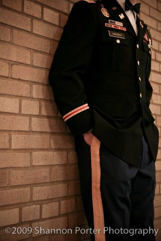 The groom's elegant dress blues