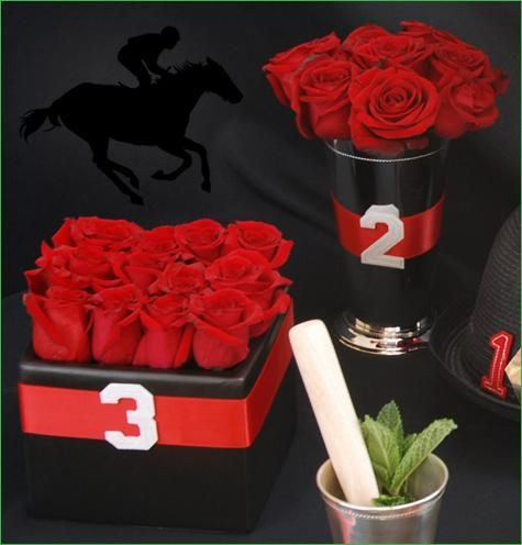 red rose centerpiece in julep cup vase red rose centerpiece in square cube