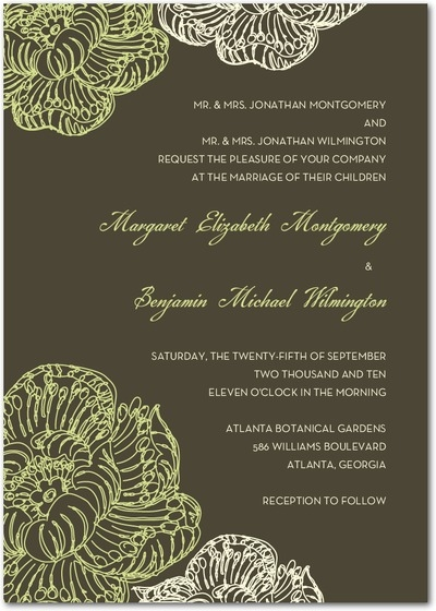 Wedding invitation with dark grey background and lime green and white