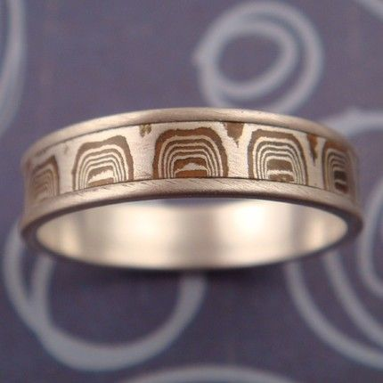 raindrop mokume wedding ring