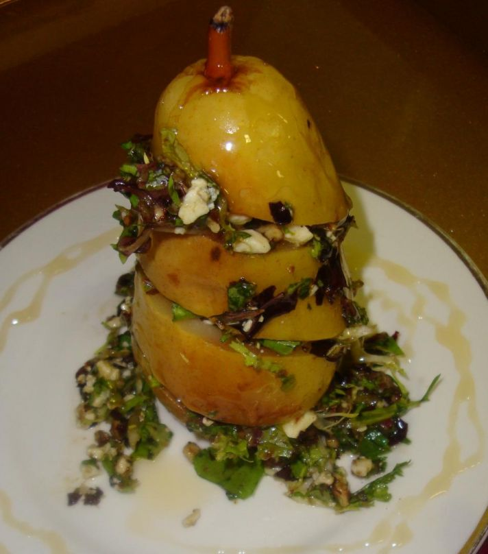 Pear salad with chevre goat cheese, candied pecans and micro greens
