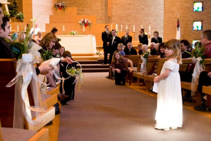 The flower girl needs a moment.