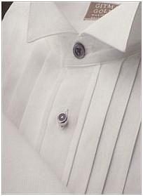 White oxford clothe formal shirt with wing collar and silver buttons