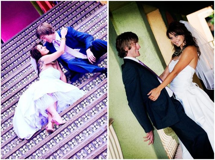 Bride with tattoo, white strapless wedding dress, groom in dark suit, kiss on stairs
