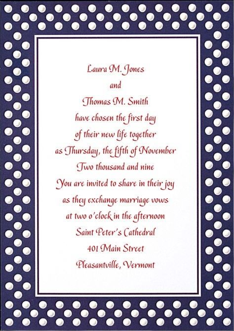 Navy Blue And White Polka Dot Wedding Invitation With Dark Fuchsia Writing