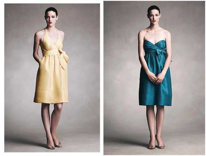 Honey yellow and casper blue eastern shantung short bridesmaid dresses with bow