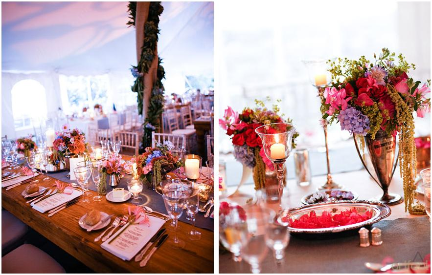 Whimsical romantic and vibrant tent for wedding reception filled with