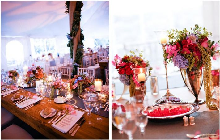Whimsical, romantic, and vibrant tent for wedding reception, filled with flowers and plants