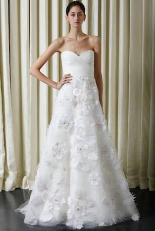 Silk white chiffon Monique Lhuillier wedding dress strapless