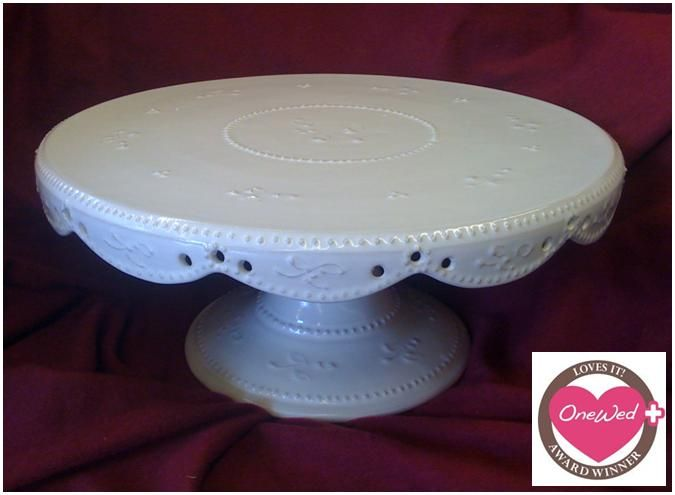 Antique white vintage frill hand made cake stand
