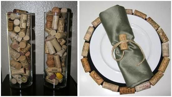 Fill glass hurricane vases with wine corks for decoration at your reception, or use as an accent on