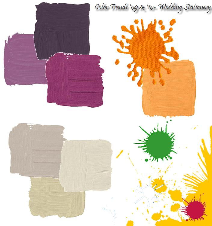 Top wedding invitation colors for 2009 and 2010 purple orange yellow
