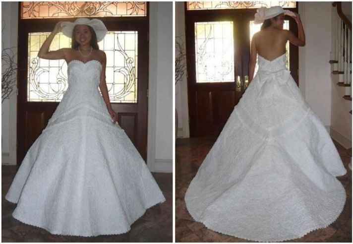 Beautiful white wedding dress, with Japanese origami detail, made entirely from toilet paper