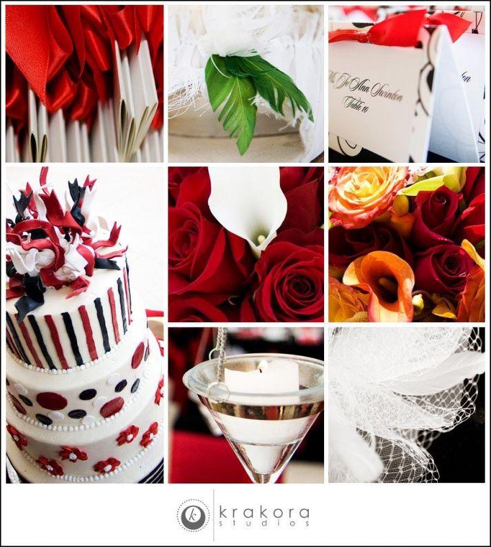 Detail shots at wedding; white, red, black wedding cake, red roses, burnt orange flowers, white call