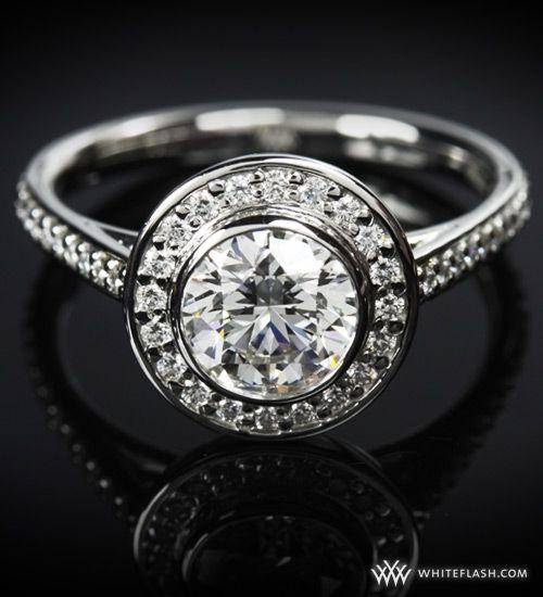 WhiteFlash engagement ring, Halo Prong Diamond Setting