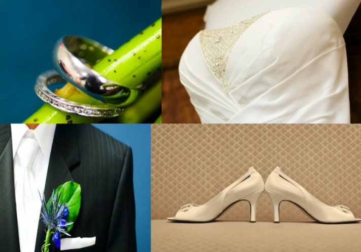 Silver rings on a green stalk, detail from a beaded wedding dress, blue boutinneire and white shoes