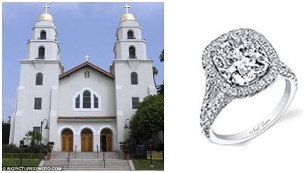 Good Shepherd Catholic Church where the couple married; stunning diamond and platinum Neil Lane enga