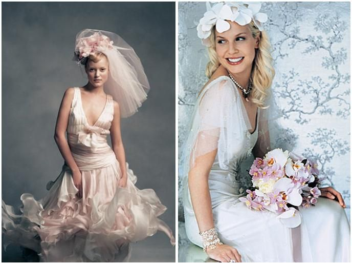 Romantic, whimsical wedding dresses and bridal hairpieces (in bright white and dusty rose)