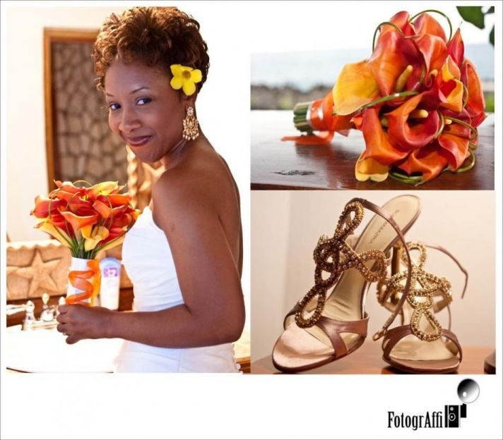 The golden strappy sandals, and orange and yellow flowers perfectly fit the relaxed feel of the brid