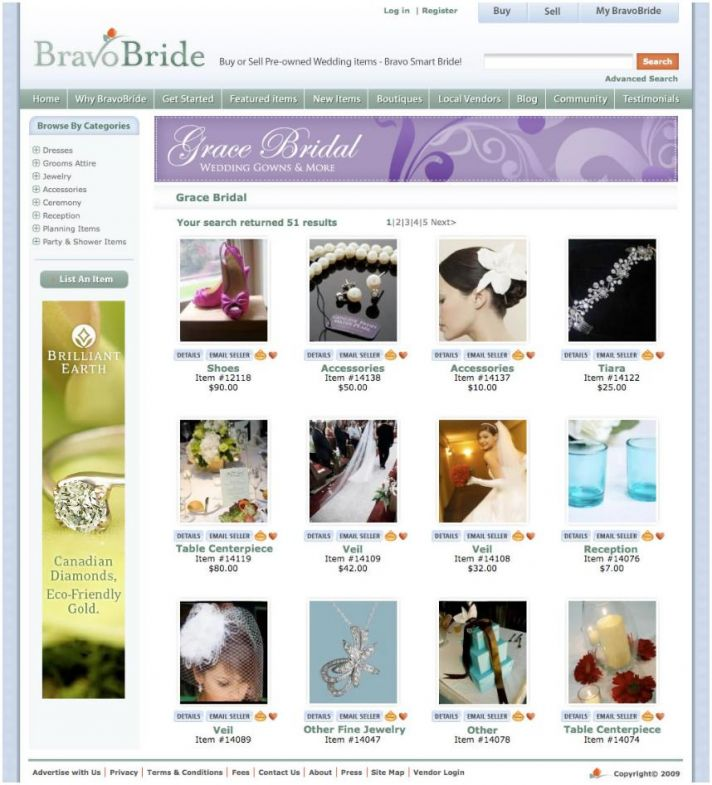 BravoBride's Boutiques- find discounted wedding items here, or sell your extra wedding accessories,