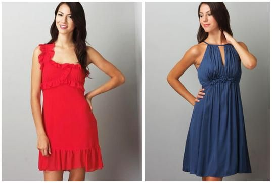 One shoulder bright red bridesmaid dress with ruffle detail; Navy blue grecian-inspired bridesmaid d