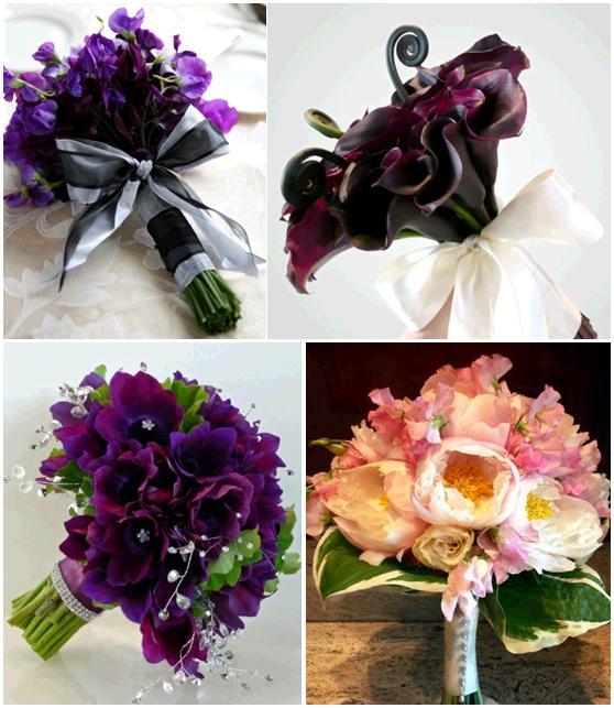 Gorgeous plum eggplant burgundy pink white bridesmaid bouquets