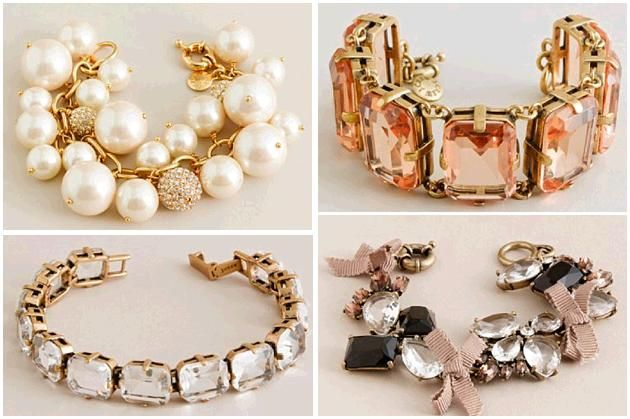 Gorgeous bridal bracelets from J.Crew- perfect alone, or layered together