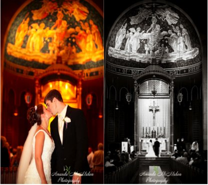 The dramatic cathedral makes an excellent setting for the bride and groom's first kiss.