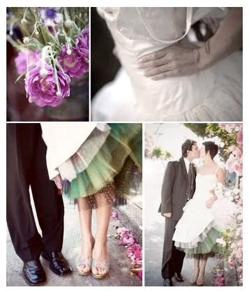 Purple, green and tulle inspiration board