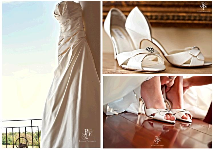 Gorgeous cream strapless wedding dress and bridal shoes with rhinestone