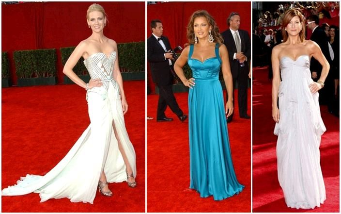 Stars on Emmys red carpet wearing gowns with sweetheart necklines