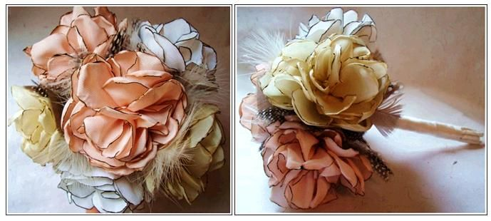 Beautiful peach, ivory, gold and white bridal bouquet made from recycled vintage fabrics