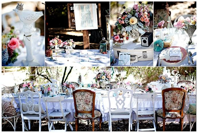Beautiful pastel garden wedding with antique tablescape, and colorful flowers