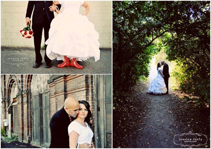 Beautiful bride (in white poufy wedding dress, red and white polka dot boots, red and ivory roses) k