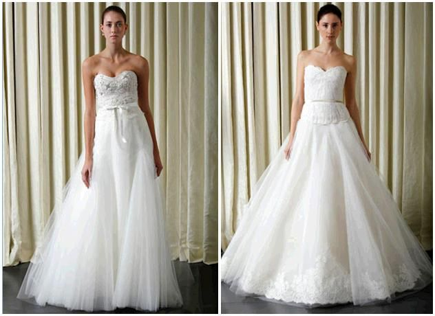 White and ivory strapless Monique Lhuillier wedding dresses with full aline