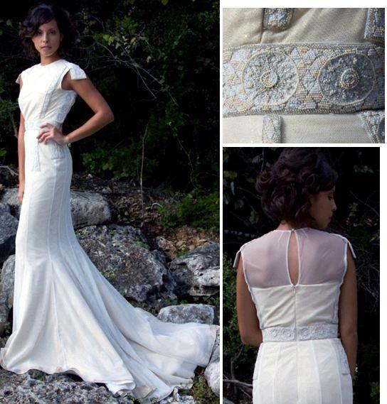 Boat neck, cap sleeve wedding dress, mermaid skirt- very military-esque
