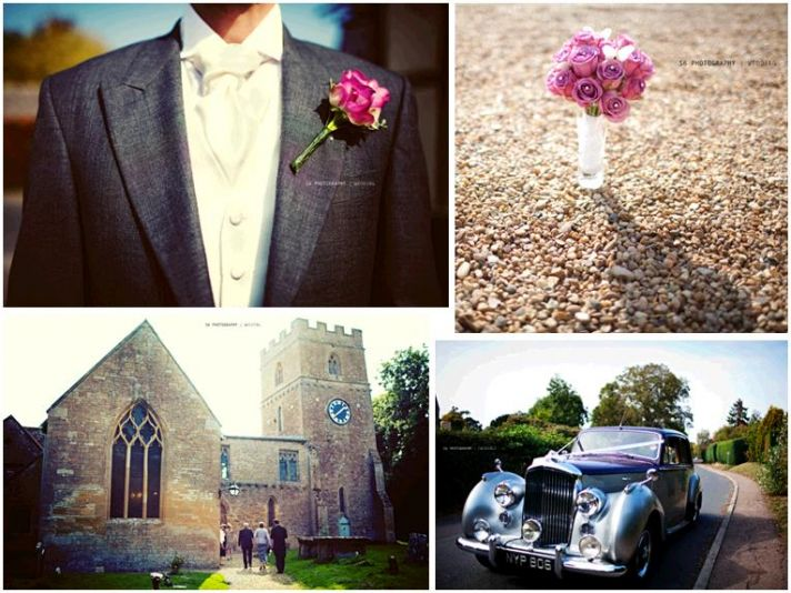 Beautiful pink, grey and purple wedding in England; antique Bentley for the wedding car