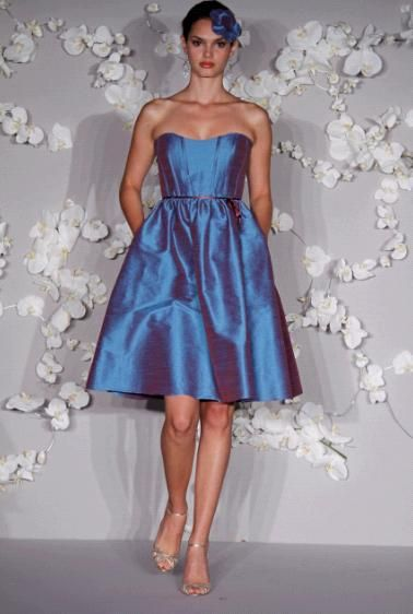 T-length blue and purple irridescent strapless bridesmaids dress with pockets