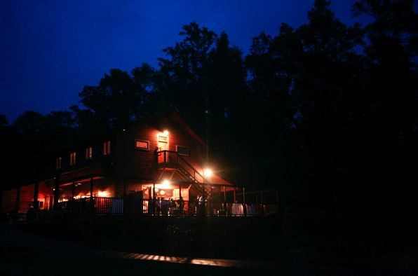 This nighttime view of the Barn at Valhalla in North Carolina is a beautiful setting for a wedding.