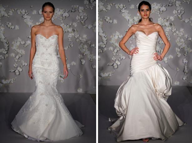 Ivory silk Balenciaga ball gown wedding dress with elongated asymmetrical bodice